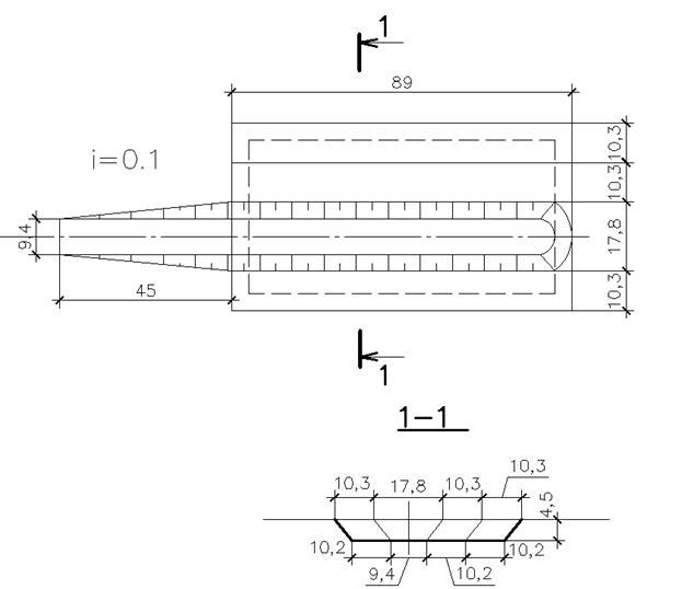 Рис.4 Схема и разрез пионерной