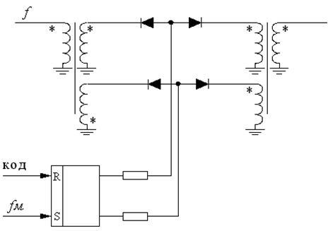 Фазовый манипулятор изображен на рисунке 1. В схеме используются универсальные импульсные диоды Д18.