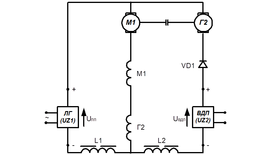 Схема взаимной нагрузки с ЛП и
