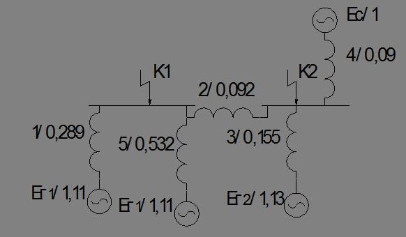 Схема замещения для расчета