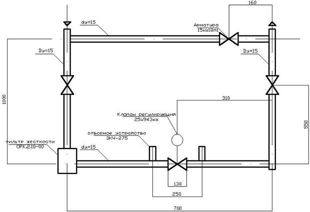 9.1.1 Принципиальные решения вентиляции пятого этажа.  Узел обвязки регулирующего клапана (УР-15/15).