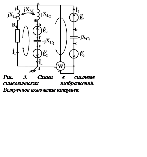 Подпись:  Рис. 5. Схема в системе символических изображений. Встречное включение катушек