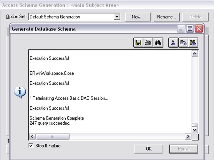 Теперь, открыв в Access свою базу данных, можно увидеть таблицы, созданные на основе сущностей, схему базу данных...