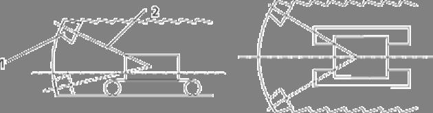 Схема обработки поверхности выработки исполнительным органом с продольно-осевой коронкой.