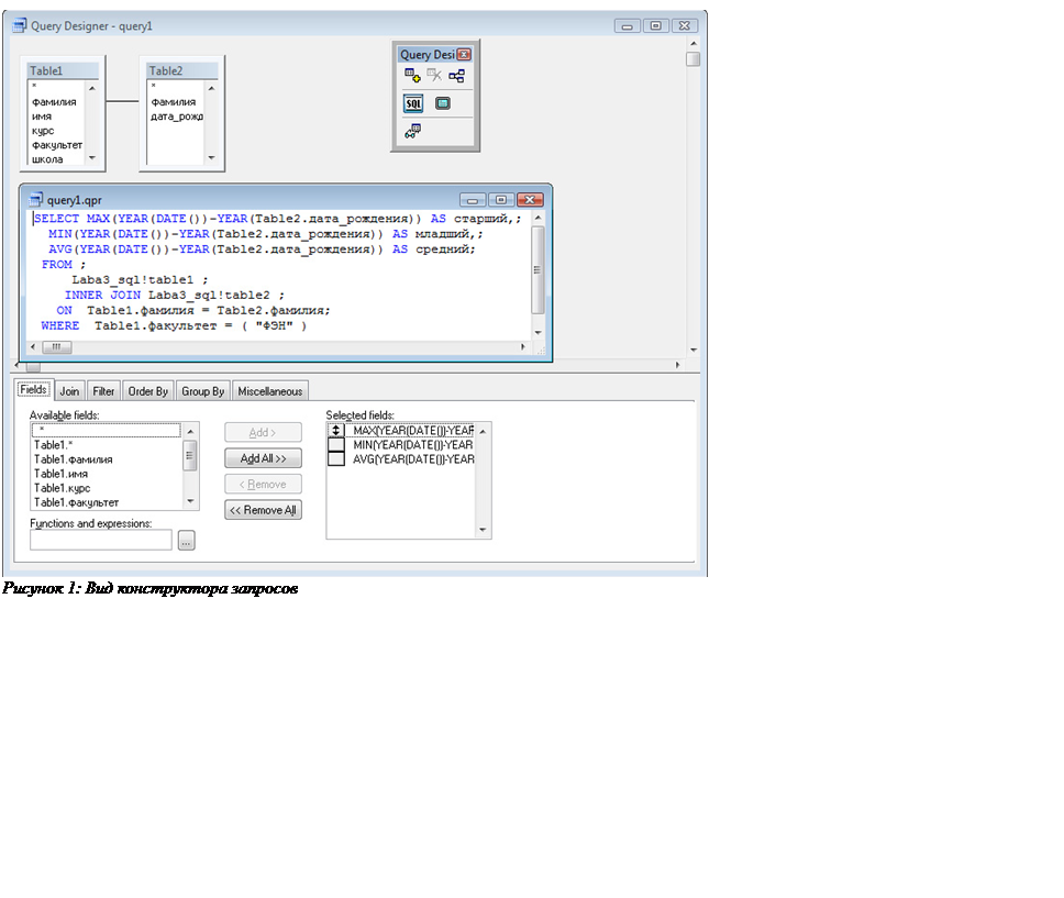Подпись:  Рисунок 3: Вид конструктора запросов