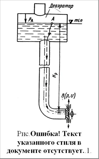 Рис.4.34. Схема к расчету допустимой высоты всасывания