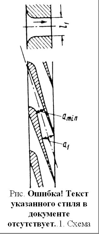 Рис. 1.12. Схема расширяющегося сопла с косым срезом
