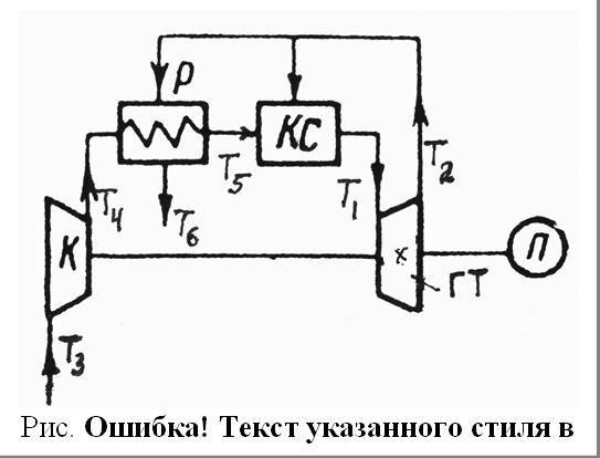 Рис. 2.9. Схема ГТУ с регенерацией