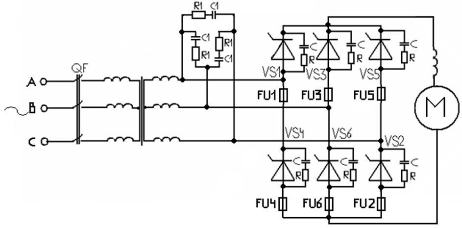 Тиристорный выпрямитель мостовая схема