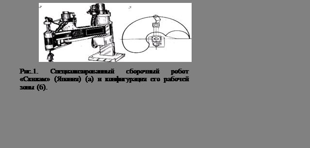 Подпись:  Рис.1. Специализированный сборочный робот «Скилам» (Япония) (а) и конфигурация его рабочей зоны (б).