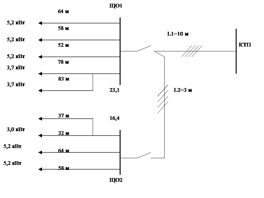 Схема замещения осветительной