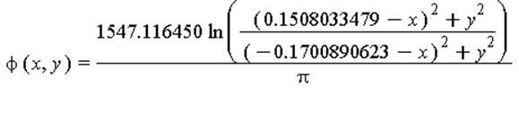 phi(x, y) = 1547.116450*ln(((.1508033479-x)^2+y^2)/((-.1700890623-x)^2+y^2))/Pi