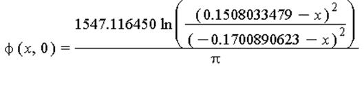 phi(x, 0) = 1547.116450*ln((.1508033479-x)^2/(-.1700890623-x)^2)/Pi