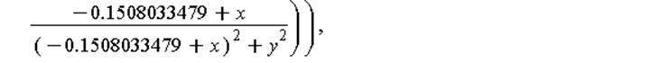 (Typesetting:-mprintslash)([E(x, y) = Vector[row]([3094.232900*((.1700890623+x)/((.1700890623+x)^2+y^2)-(-.1508033479+x)/((-.1508033479+x)^2+y^2))/Pi, 3094.232900*(y/((.1700890623+x)^2+y^2)-y/((-.1508...