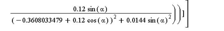 (Typesetting:-mprintslash)([E(x, y) = Vector[row]([3094.232900*((-0.399109377e-1+.12*cos(alpha))/((-0.399109377e-1+.12*cos(alpha))^2+0.144e-1*sin(alpha)^2)-(-.3608033479+.12*cos(alpha))/((-.3608033479...