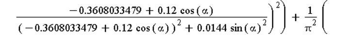abs(E(x, y)) = (9574277.239*((-0.399109377e-1+.12*cos(alpha))/((-0.399109377e-1+.12*cos(alpha))^2+0.144e-1*sin(alpha)^2)-(-.3608033479+.12*cos(alpha))/((-.3608033479+.12*cos(alpha))^2+0.144e-1*sin(alp...