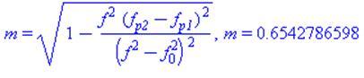m = sqrt(1-f^2*(f[p2]-f[p1])^2/(f^2-f[0]^2)^2), m = .6542786598