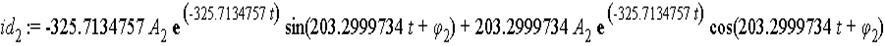 id[2] := -325.7134757*A[2]*exp(-325.7134757*t)*sin(203.2999734*t+phi[2])+203.2999734*A[2]*exp(-325.7134757*t)*cos(203.2999734*t+phi[2])