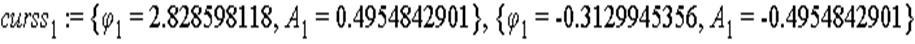 curss[1] := {phi[1] = 2.828598118, A[1] = .4954842901}, {phi[1] = -.3129945356, A[1] = -.4954842901}