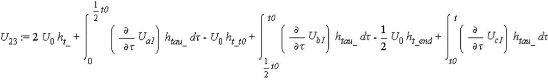 U[23] := 2*U[0]*h[t_]+int((diff(U[a1], tau))*h[tau_], tau = 0 .. 1/2*t0)-U[0]*h[t_t0]+int((diff(U[b1], tau))*h[tau_], tau = 1/2*t0 .. t0)-1/2*U[0]*h[t_end]+int((diff(U[c1], tau))*h[tau_], tau = t0 .. ...