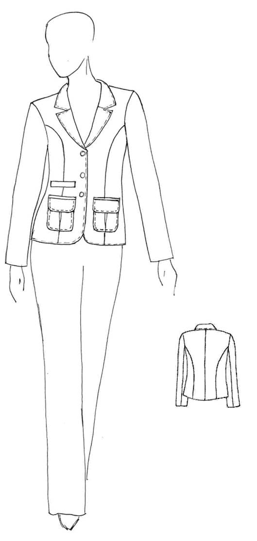 В качестве примера рассмотрим описание внешнего вида модели женского жакета и брюк, эскизы которых
