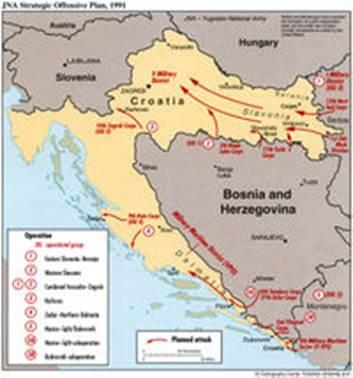 Схема наступательных операций ЮНА в 1991 году
