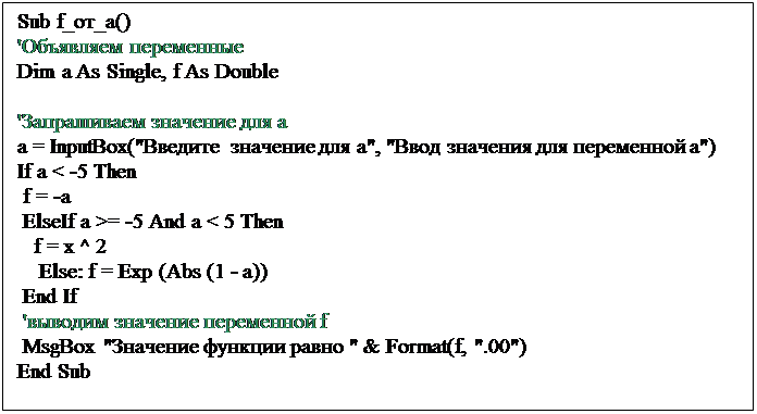 "Подпись: Sub f_от_а()'Объявляем переменныеDim a As Single, f As Double'Запрашиваем значение для аa = InputBox(""Введите значение для а"", ""Ввод значения для переменной а"")If a < -5 Then f = -a ElseIf a >= -5 And a < 5 Then   f = x ^ 2    Else: f = Exp (Abs (1 - a)) End If 'выводим значение переменной f MsgBox ""Значение функции равно "" & Format(f, "".00"")End Sub"
