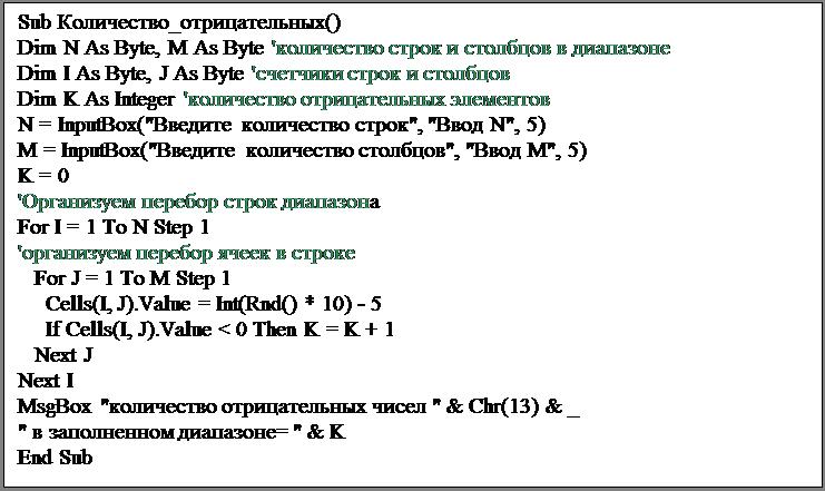 """Подпись: Sub Количество_отрицательных()Dim N As Byte, M As Byte 'количество строк и столбцов в диапазонеDim I As Byte, J As Byte 'счетчики строк и столбцовDim K As Integer 'количество отрицательных элементовN = InputBox(""""Введите количество строк"""", """"Ввод N"""", 5)M = InputBox(""""Введите количество столбцов"""", """"Ввод M"""", 5)K = 0'Организуем перебор строк диапазонаFor I = 1 To N Step 1'организуем перебор ячеек в строке   For J = 1 To M Step 1     Cells(I, J).Value = Int(Rnd() * 10) - 5     If Cells(I, J).Value < 0 Then K = K + 1   Next JNext IMsgBox """"количество отрицательных чисел """" & Chr(13) & _"""" в заполненном диапазоне= """" & KEnd Sub"""