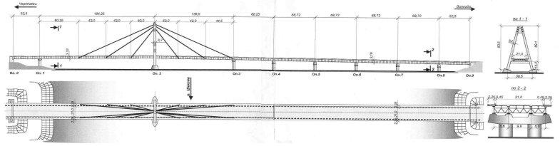 Схема вантового моста с