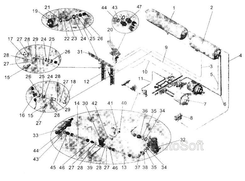 Задний и остановочный тормоз МАЗ-103