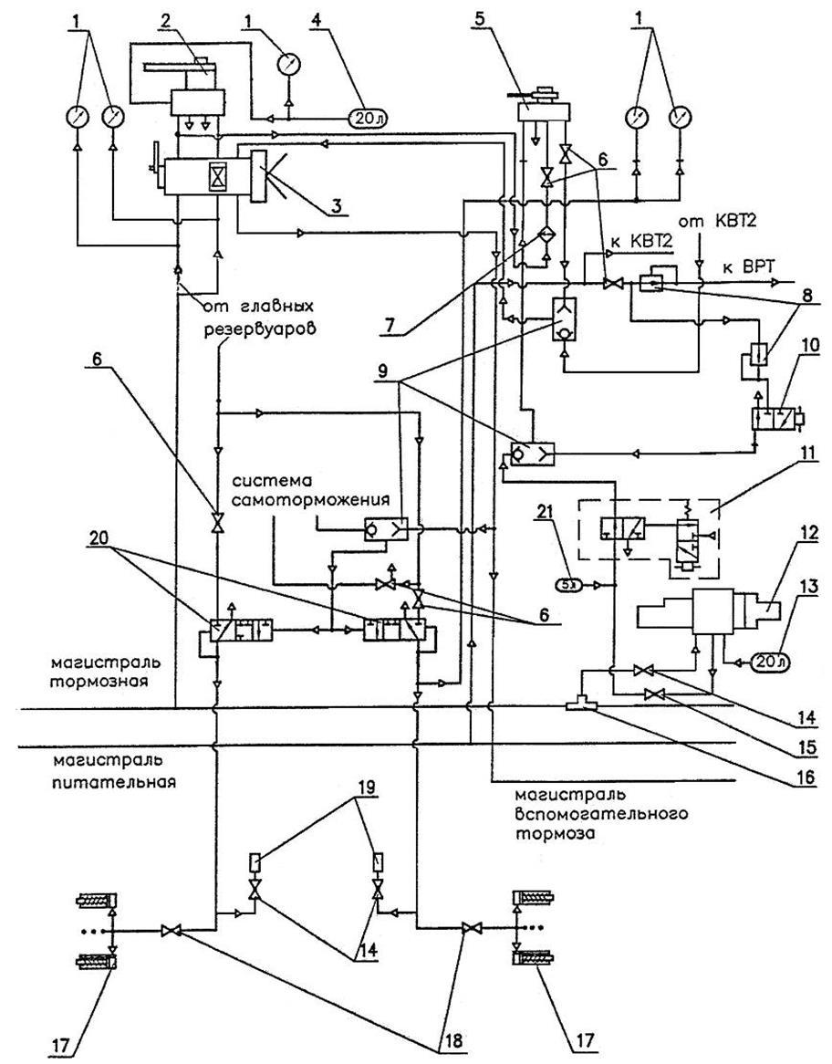 Схема краны вспомогательного тормоза локомотива