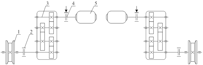 Кинематическая схема механизма передвижения с раздельным приводом