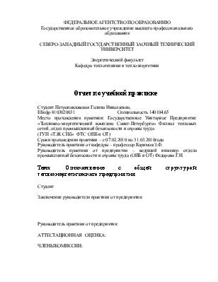Ознакомление с общей структурой теплоэнергетического предприятия  Ознакомление с общей структурой теплоэнергетического предприятия Отчет по учебной практике