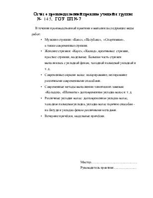 Отчёт о производственной и о квалификационной практике  Отчёт о производственной и о квалификационной практике технологической стажировке в парикмахерской
