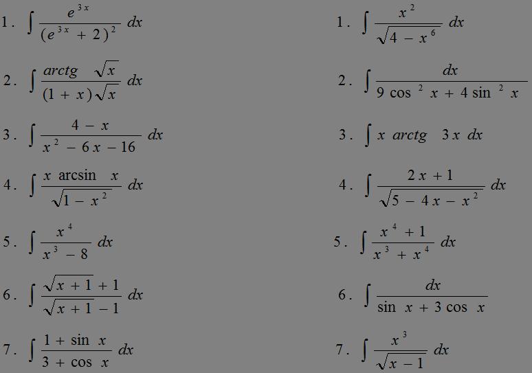 Введение в анализ Дифференциальное исчисление функций одного  Контрольная работа по теме Неопределенные интегралы