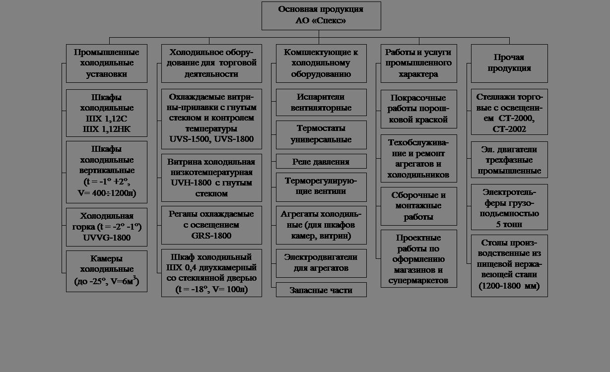 Отчет по технико экономической практике на совместном предприятии  Рис 1 1 Номенклатура продукции работ услуг освоенная АО Спекс