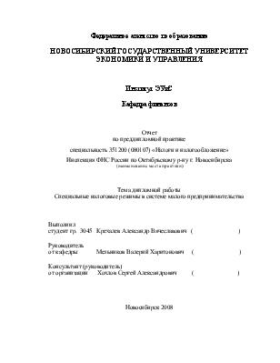 Отчет о практике в налоговой 1705