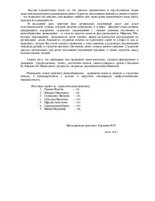 Отчет о прохождении педагогической практики студентами учебной  Отчет о прохождении педагогической практики студентами учебной группы специальность Педагогика дополнительного образования в области
