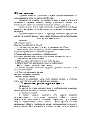 Оценка бизнеса Методические указания к курсовому проекту по  Оценка бизнеса Методические указания к курсовому проекту по одноименной дисциплине