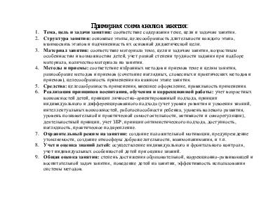 Схема анализа занятия