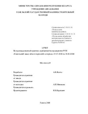 Отчет по производственной практике пройденной на предприятии РУП  Отчет по производственной практике пройденной на предприятии РУП Гомельский завод литья и нормалей
